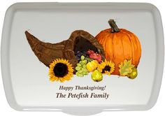 Our Autumn Harvest Designer Artist Series personalized cake pans and lids are perfect for any fall or thanksgiving occasion!