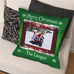 Personalized Christmas Photo Throw Pillow | Custom Printed Photo Throw Pillow | Custom Digital Picture Gifts