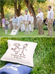 Custom corn hole beanbags. #weddinggames #cornhole #customwedding