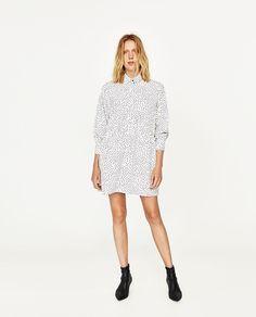 Image 1 of POLKA DOT SHIRT DRESS from Zara