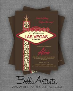 Welcome to Las Vegas Bachelorette Party Invitation, Leopard & Red. $15.00, via Etsy. (change for wedding invite?)