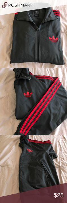 Adidas track jacket Grey and red men's size medium. Adidas Jackets & Coats Lightweight & Shirt Jackets