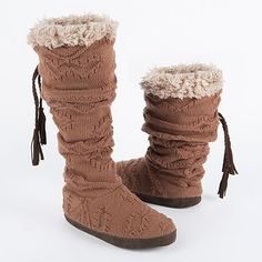 Texture Cuff Bootie Slippers