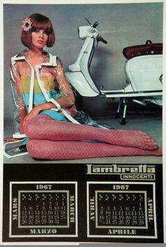 Jean Shrimpton for the 1967 Lambretta calendar.