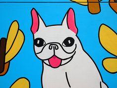Dog Heaven | Painting: Elina Holley |  | #detail #mural #muralart #streetart #urbanart #popart #art #painting #cartoon #character #frenchbulldog #frenchie #dog #butterfly #hotdog #illustration #design #concept #katutaide #maalaus #MyBelovedMonster #Memorial #ElinaHolley #Helsinki #electricitybox