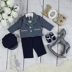 Special Occasion Boys Navy Blue Grey Check Suit – BabyUniqueCorn