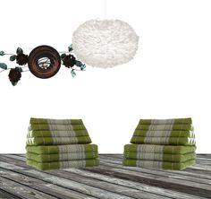En Eos XL vit fjäderlampa tillsammans med två st thaikuddar i grönt och en väggdekoration Inflorescence candle holder. www.globalxdesign.com