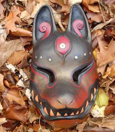 painted kitsune mask black gold by *missmonster on deviantART