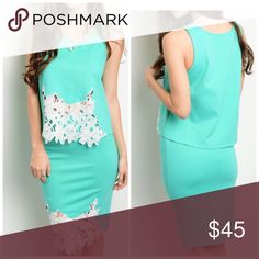 PREORDER Mint/White 2 piece crochet detail outfit! This beautiful two piece set features a sleeveless top with a crochet insert on center of hem and a matching pencil skirt! Dresses