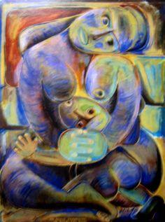 He Aroha Whaere, He Potiki Piri Poho by Robyn Kahukiwa Birth Art, New Zealand Art, Nz Art, Maori Art, Australian Art, Art Auction, Robin, Whimsical, Pregnancy