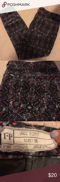 Free People printed corduroy pants Boho printed free people corduroy pants! Like new. Indigo colored with light blue and pink print. Free People Pants Skinny