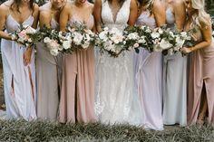 Gorgeous mix & match palette with a hint of metallics! 📷 Victoria Selman Photographer; Bridesmaids Dresses- Bari Jay