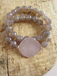 Druzy Bracelet Drusy Quartz Gray Chalcedony by julianneblumlo