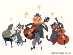 NORICO URAMOTO Jazz Cat, Cello Music, Music Illustration, Cats Musical, Cartoon Painting, Cat Posters, School Art Projects, Music Pictures, Music For Kids