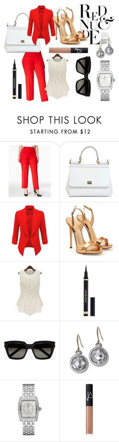 """Untitled #21"" by sicliancutie on Polyvore featuring Kasper, Dolce&Gabbana, LE3NO, Giuseppe Zanotti, Yves Saint Laurent, Monica Rich Kosann, Michele, NARS Cosmetics and plus size clothing"