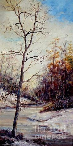 Winter Tree 12x24 oil on canvas.  A stream flows between two snow covered hills, the trees in the background still retain a few leaves, but the tree in the foreground is bare and is silhouetted against a warm cloudy sky filling the vertical space with limbs and graceful branches.