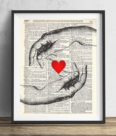 Hands With Heart Vintage Art Print- Valentines Day gifts for him