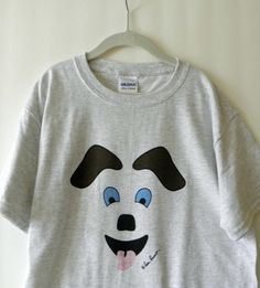 TODDLER T-shirt, 100% cotton, Happy Dog design by PonsArt $20.00. A short sleeve style Tshirt for Toddlers, 2 color choices; a PonsArt original, titled Happy Dog; FREE shipping within the continental USA in 3-5 business days.