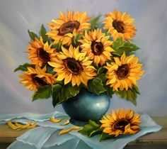 DIY Oil Painting By Numbers Sunflower Painting - No Frame by AniqueCo on Etsy Sunflower Bouquets, Sunflower Art, Lily Painting, Oil Painting Flowers, Art Floral, Paint By Number Diy, 5d Diamond Painting, Beautiful Artwork, Art Oil