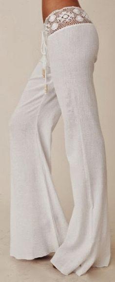 White Plain Lace Spliced Belt Mid-rise Horn Shape Stylish Long Pants - - White Plain Lace Spliced Belt Mid-rise Horn Shape Stylish Long Pants Source by dianamaina Mode Hippie, Bohemian Mode, Bohemian Style, Bohemian Pants, Hippie Pants, Gypsy Style, Hippie Chic Style, Gypsy Pants, White Pants Fashion