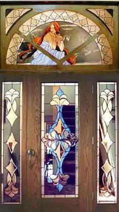 art nouveau stained glass door
