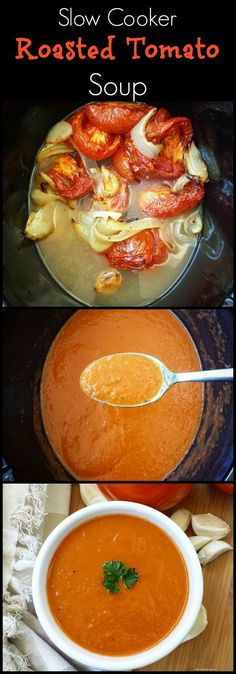Crockpot / Slow Cooker healthy whole30 paleo - There are less than 5 ingredients in this easy and healthy roasted tomato soup recipe. After a quick roast in the oven, the slow cooker does the rest.