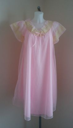 Vintage 1960s Canadian Maid Pink Chiffon Nightgown on Etsy, $66.79 CAD