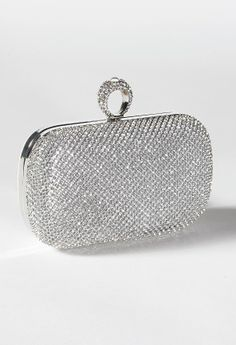"Handbag features:• Full rhinestone coverage• 22"" metal chain strap • Inner pocket• Fully lined"
