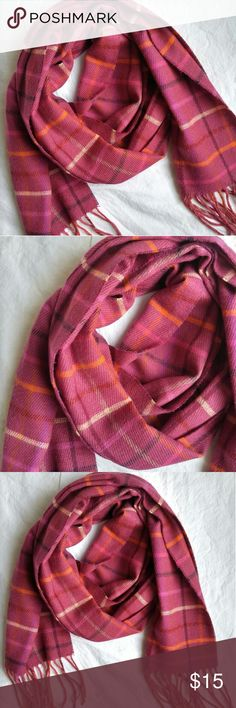 """Fraas Cashmink Magenta Pink Plaid Acrylic Scarf Excellent condition- no stains, holes, or fading Rich, magenta pink color Beautifully soft and cozy 9"""" by 78"""", not counting fringe Fraas Cashmink Accessories Scarves & Wraps"""