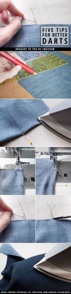Find out how to achieve nearly invisible darts with these five easy steps!   http://Indiesew.com   Best and Essential Sewing Tips, Tools, and Tricks for Beginners   Sewing Hacks   Learn How to Sew   Sewing Tutorials and Instruction   Simple Sewing Techniques