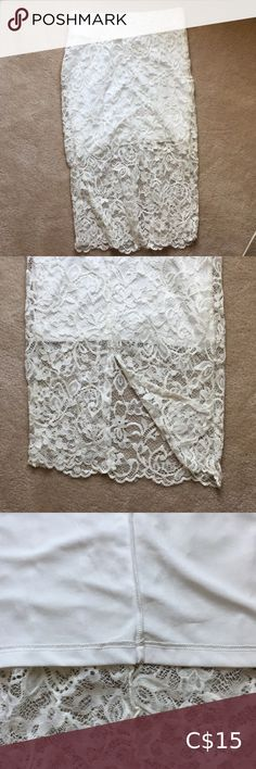 H&M White Lace Skirt Great condition, no stains but no tags Fits like an XS and has a slit at the back H&M Skirts White Lace Skirt, Plus Fashion, Fashion Tips, Fashion Trends, Lace Shorts, Stains, Skirts, Closet, Outfits