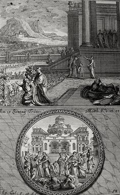 Phillip Medhurst presents Bowyer Bible print 3574 Consider the lilies of the field Matthew 6:24 Galatians 5-6 Kraussen on Flickr.  A print from the Bowyer Bible a grangerised copy of Macklins Bible in Bolton Museum and Archives England. Photograph of a print in the Phillip Medhurst Collection (owned by Philip De Vere) at St. Georges Court Kidderminster.
