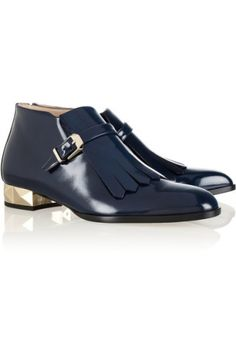 Valentino | Studded polished-leather loafers | NET-A-PORTER.COM
