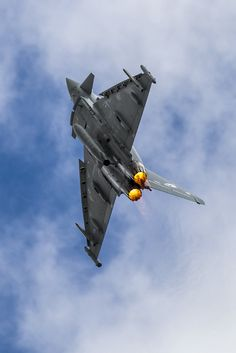 RAF Eurofighter Typhoon II ZK307 climbing vertically from RAF Coningsby at the end of his practice display.
