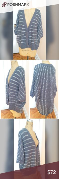 "Free People chunky shawl Cardigan NWOT Brand: Free People  Condition: new without tags-perfect condition  Size: 1xs 1small  Style:oversized high low Cardigan  Length: xs: front 23"" back 30"" small: front 24.5"" back 30""  Armpit-armpit: xs: 28"" small: 29""  Color: grey and white stripes  Material:cotton and rayon  Care:hand wash or gentle machine cycle Free People Sweaters Cardigans"