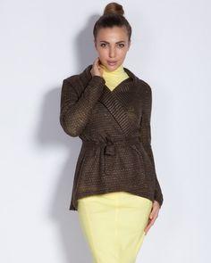 Дамска жилетка с шал-яка и коланче - тютюневозелена - Mono  #Efrea #Ефреа #online #онлайн #пазаруване #дрехи #жилетка