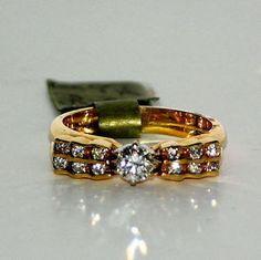 14 Karat Yellow Gold Double Channel Set Diamond Engagement Band