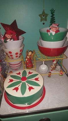 Vintage Christmas Pyrex Display