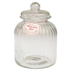 Large Traditional Ridged Glass Biscuit Jar | DotComGiftShop