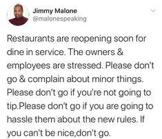 💯👏 . . . . . #serverlife #servermemes #serverproblems #iserv #iserverlife #lifeofaserver #lifeasaserver #servers #waiter #waitress #bartender #cook #manager #host #busser #restaurant #servervent #funny #haha #lol #lmao #love #hate #followme #memes #happy #sunday Server Memes, Server Humor, Server Problems, Server Life, Please Dont Go, The New Normal, Good News, Best Quotes, Corona