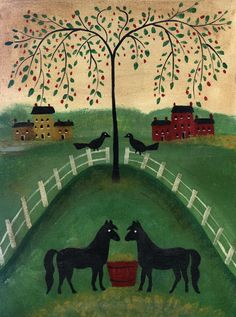 TWO HORSES UNDER WILLOW TREE
