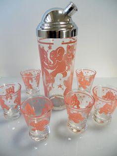 Vintage Hazel-Atlas Dancing Pink Elephants Cocktail Set