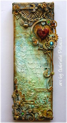 Kunst mit Gemischten Medi Elongated Steampunk Canvas VIDEO TUTORIAL {Dusty Attic & Shimmerz Paints} (Such a pretty mess) Altered Canvas, Altered Art, Mixed Media Tutorials, Art Tutorials, Mixed Media Techniques, Mixed Media Canvas, Mixed Media Collage, Mixed Media Boxes, Heart Collage