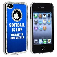 Apple iPhone 4 4S 4G Blue S2055 Rhinestone Crystal Bling Aluminum Plated Hard Case Cover Softball is Life by MIP INC, http://www.amazon.com/dp/B00AG412WU/ref=cm_sw_r_pi_dp_wjfErb1V1F70K