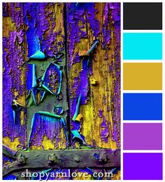Colorful Ruination color palette - bold hues of aqua, grey, plum and cerulean