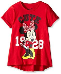 Disney Big Girls Minnie Call Me Cute Hi Low with Rolled Sleeve Red XLarge16 >>> Visit the image link more details.