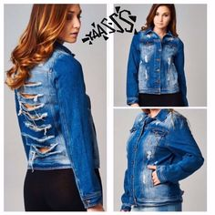 OVERSIZED SHREDDED DENIM JACKET Everyone needs a denim jacket and this one is pretty unique in the jean jacket world! Shredded back, some acid wash, pockets, cool buttons. Very hip! S-XL tla2 Jeans