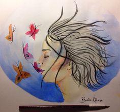 A canção das borboletas. Aquarela por Beatriz Lemos