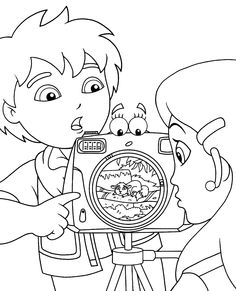 Go Diego Coloring Pages For Kids With Camera Printable Free