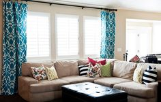 shutters and curtains living room | drapes can be used with roller blinds or plantation shutters